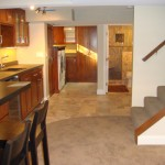 St Paul basement remodel with family room, bar area, laundry area and bathroom.