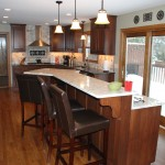 Bloomington kitchen remodel with elevated bar height island seating.