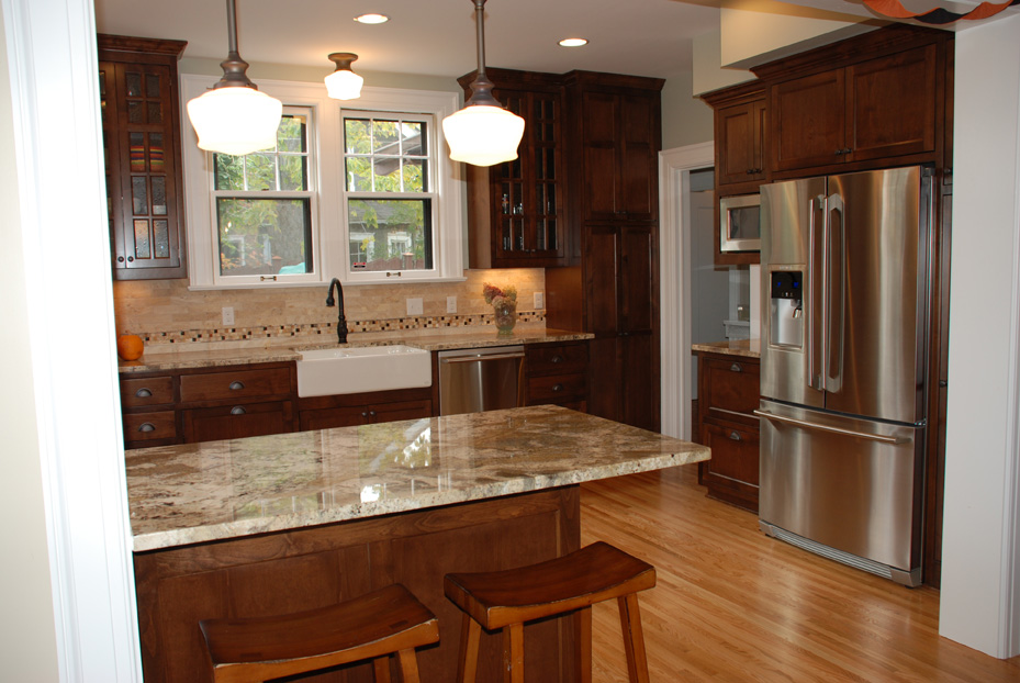 Minneapolis, MN Kitchen Remodel With Mission Style Cabinets, Peninsula  Seating And Farm House Sink