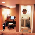 Basement renovation in Edina, MN showing office and bathroom view.