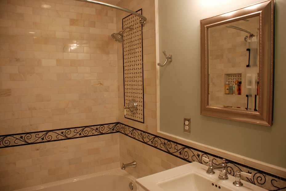 custom bathroom surround tile work and niche box in an edina bathroom