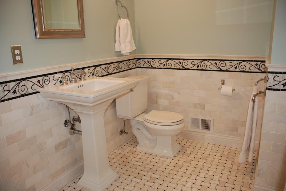 Bathroom Remodel In Edina With Carrera Marble Subway Tile, Basket Weave  Flooring And Decorative Boarders