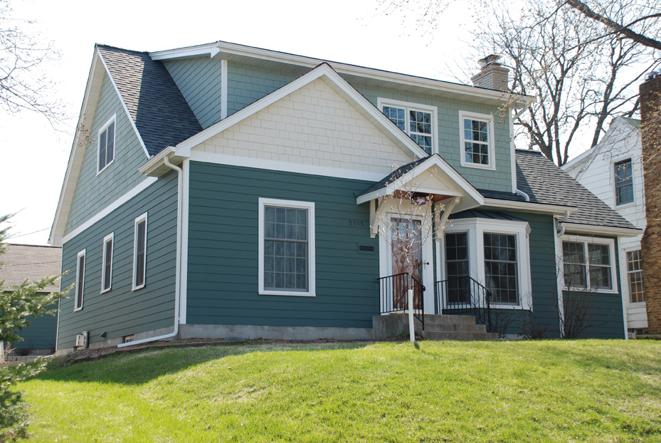 Full Second Story Addition And Side Mud Room Addition In South Minneapolis.  James Hardie Siding