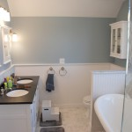 South Minneapolis attic remodel with clawfoot tub, custom glass shower enclosure and beaded wainscotting.