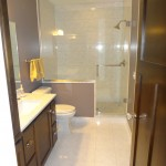 Edina basement bath remodel with huge walk in shower enclosed with heavy glass.
