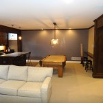 Edina basement remodel billiards area and custom bar.