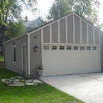 26' by 24' Minneapolis garage build with Hardie stucco siding and batten trim.