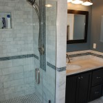 St Paul bathroom remodel with subway tile and decorative tile accents.