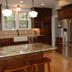 Minneapolis, MN kitchen remodel with Mission Style cabinets, peninsula seating and farm house sink details.