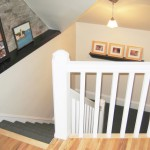 Attic renovation handrail with Cherry wood, wall ledge accents.