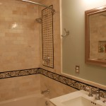 Custom bathroom surround tile work and niche box in an Edina bathroom remodel.