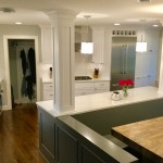 Edina kitchen remodel opened to multiple rooms for a great room concept.